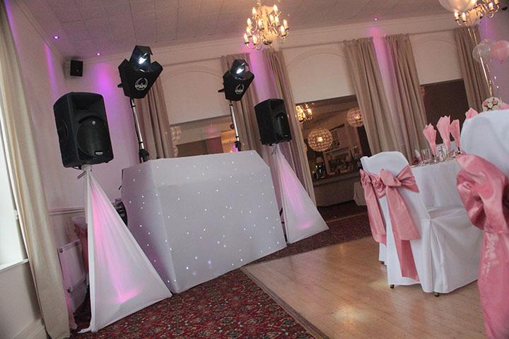 White Star Cloth Wedding Disco Setup Example 1st Class Event Entertainments Mobile Discos