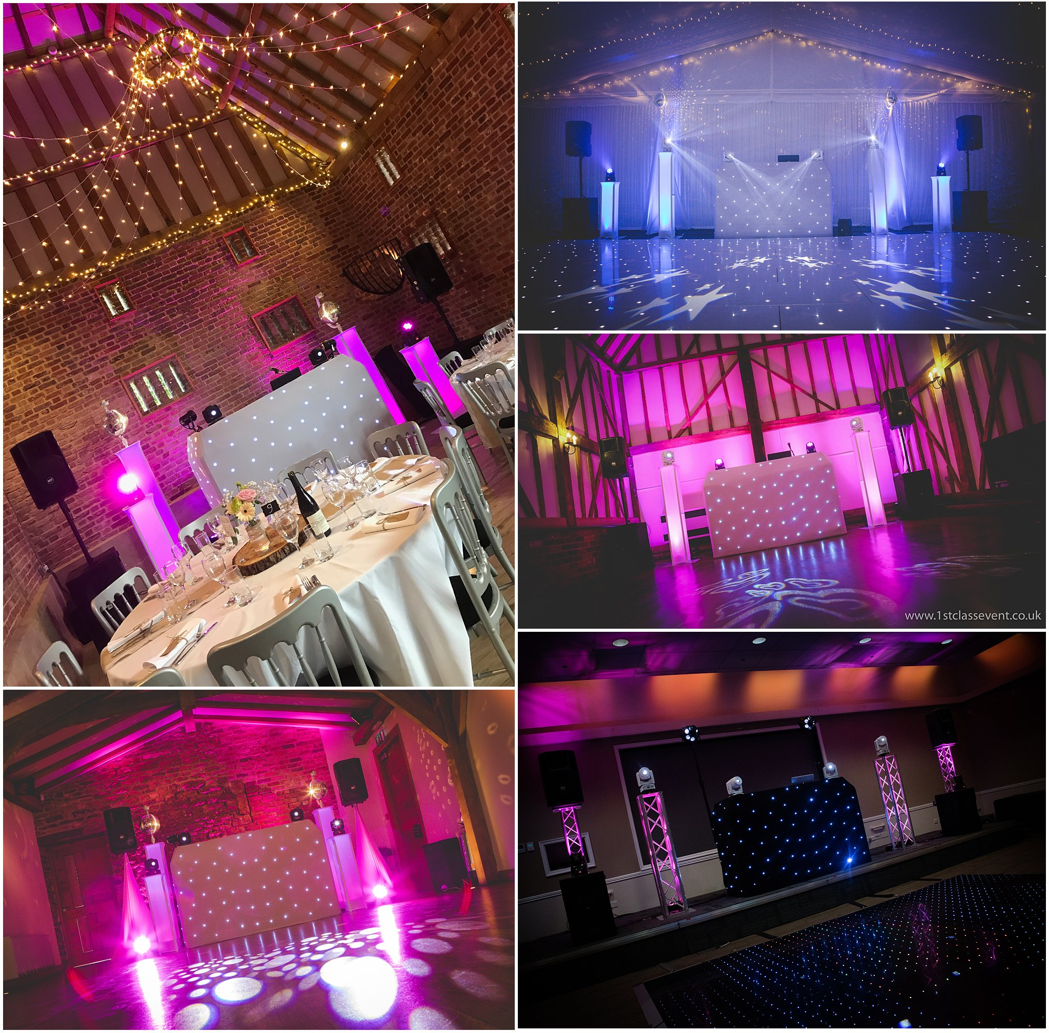 white wedding disco setup
